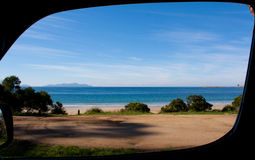Campervan window view. A view from the window of a campervan in Tasmania Australia royalty free stock images
