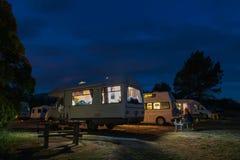 Campervans camping at Peketa Beach, Kaikoura, South Island of New Zealand Stock Image