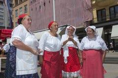 Campesinos croatas en la plaza principal en Zagreb imagen de archivo libre de regalías