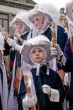 Campesinos el martes de carnaval, carnaval de Binche, Bélgica foto de archivo libre de regalías