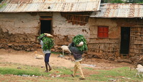 Campesinos en aldea etíope Imágenes de archivo libres de regalías