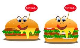 Campeurs de sourire avec des yeux et le slogan : Mangez-moi Salade, oignons, tomates illustration libre de droits
