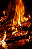 Campfire. At night.Incineration of brushwood Stock Image