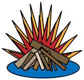 Campfire. Concptual illustration of a campfire with white background on a nlue circle Stock Photos