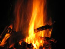 Campfire. Peaceful small campfire at night Royalty Free Stock Photo