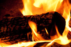 Campfire. A single burning log in a campfire Stock Photo