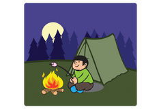 Campfire. An illustration of a boy in front of the campfire royalty free illustration