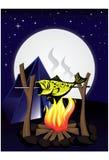 Campfire. Under full moon and star bright sky royalty free illustration