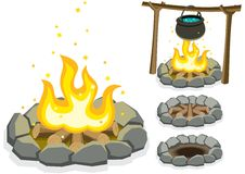 Campfire. Cartoon illustration of a campfire in 4 different situations. No transparency and gradients used royalty free illustration