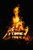 Campfire 2. Burning stack of wood Royalty Free Stock Images