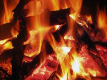 Campfire. Burning hot embers Royalty Free Stock Images