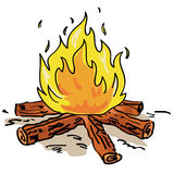 Campfire vector. Illustration of a camp fire on white background + vector eps file Royalty Free Stock Photo