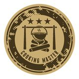 Campfire. Abstract stamp with campfire and boiling food in pot above the fire. Badges and labels vector illustration