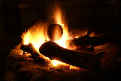 Campfire. Burning campfire at an African hunting lodge Royalty Free Stock Photography