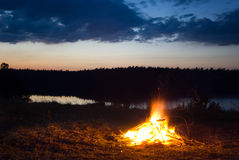 Campfire. Campfire at dusk. Long exposure. Location: Mazury, Poland royalty free stock image