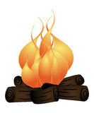 Campfire. Illustration of flames burning on logs Royalty Free Stock Images