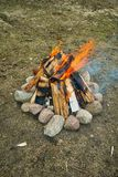 Campfire. Close-up with stones Royalty Free Stock Image
