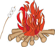Campfire. And marshmallow roaste on a stick vector illustration