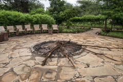 Campfire in the African national park Amboseli Royalty Free Stock Photo