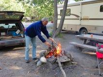 A campfire in alaska Royalty Free Stock Photos