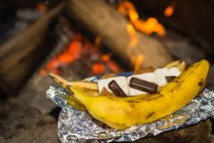Campfire Banana Smores stock photography