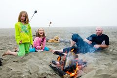 Campfire at the beach Royalty Free Stock Photography