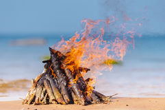 Campfire on the beach Stock Image