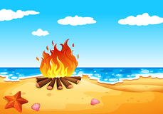 A campfire at the beach. Illustration of a campfire at the beach Royalty Free Stock Photo