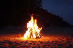 Campfire on the beach royalty free stock images