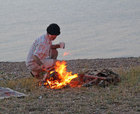 Campfire on beach Royalty Free Stock Image