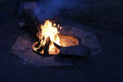 Campfire at Blackhawk Campgrounds royalty free stock image