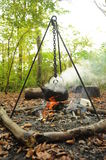 Campfire Boiling a Kettle Royalty Free Stock Photo