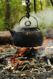 Campfire Boiling a Kettle Stock Photos