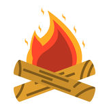 Campfire, bonfire icon. Tourism equipment. River boat trip web e. Lements. Vector illustration Royalty Free Stock Image