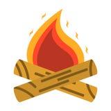 Campfire, bonfire icon. Tourism equipment. River boat trip web e. Lements. Vector illustration Stock Images