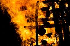 Campfire bonfire. Bonfire during Montelago Celtic Festival in Italy Stock Photo