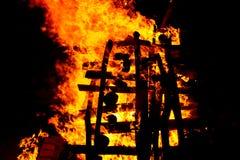 Campfire bonfire. Bonfire during Montelago Celtic Festival in Italy Royalty Free Stock Photo