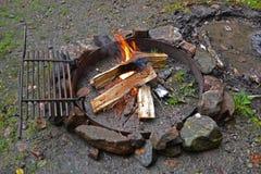 A Campfire burning. Stock Photos