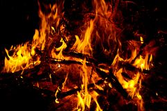 Campfire burning at night Stock Photo