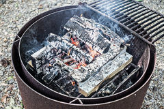 Campfire burning in steel ring Royalty Free Stock Photo