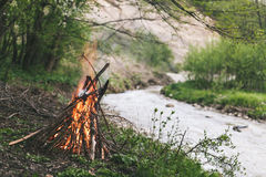Campfire. Camp fire start near to the river Royalty Free Stock Photos