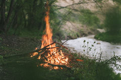 Campfire. Camp fire start near to the river Royalty Free Stock Image