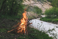 Campfire. Camp fire start near to the river Royalty Free Stock Photography