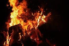 Campfire Close-up. Close-up view of a blazing campfire Stock Photo