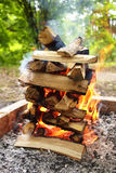Campfire closeup Stock Photos