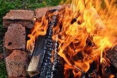 Campfire. Closeup of bonfire Royalty Free Stock Photography