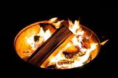 Campfire. Closeup of a burning campfire at night Royalty Free Stock Image