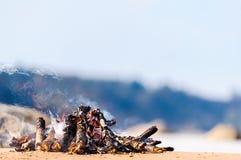 Campfire on coast Royalty Free Stock Photos