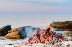 Campfire on the coast Royalty Free Stock Image