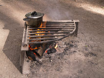 Campfire and cook pot Stock Photography